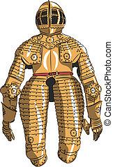 vector, armadura, medieval, caballero