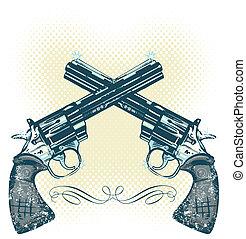 vector, armas de fuego, ilustración, mano