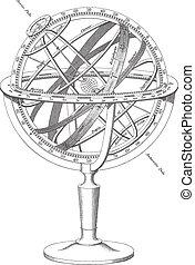 vector Armillary Sphere illustration - High quality black...