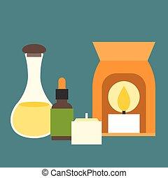 Vector aromatherapy equipment icons