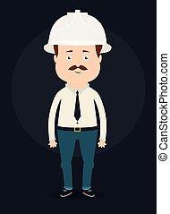 vector, arquitecto, illustration., worker.