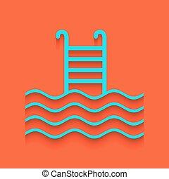 vector., arrière-plan., whitish, signe., piscine, natation, ...