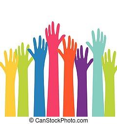 vector, arriba, colorido, manos