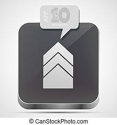 Vector arrow app icon with gray bubble speech. Eps10