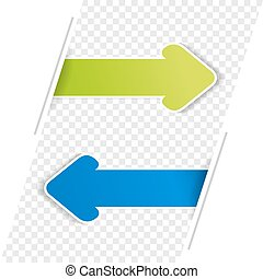 Vector arrow banners. Green and blue arrow on the transparency bacground.