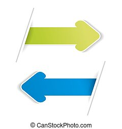 Vector arrow banners. Green and blue arrow on the white bacground.