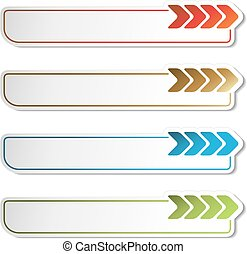 Vector arrow buttons. Golden, green, blue and red arrows on the white simple stickers, rectangle with rounded corners.