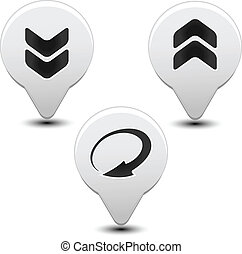 Vector arrow buttons with download, reload, upload signs