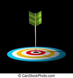 Vector Arrow. Dart Hit Centre of Target.