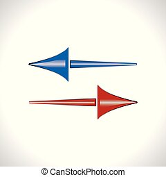 Vector arrow icon in red and blue