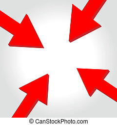 Vector arrow to center - Red arrows tip-to-tip pointing to a...