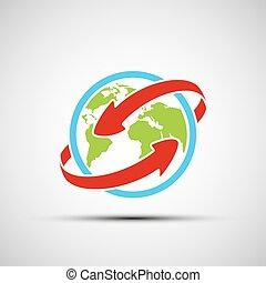 Vector arrows around planet earth
