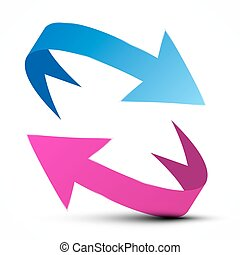 Vector Arrows - Blue and Pink Arrow Isolated on White Background
