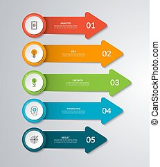Vector arrows for infographic diagram, graph, chart. Business concept with 5 arrows, steps, parts, options.