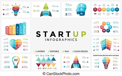Vector arrows infographic, cycle diagram, progress graph, presentation chart. Business template with 4, 5, 6, 7, 8 option, part, step, process. Heart, light bulb, human head, pyramid, timeline