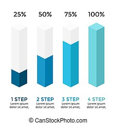Vector arrows infographic, diagram chart, 3D column graph presentation. Business concept with options, parts, steps, processes. Growth percents 25, 50, 75, 100. Loading status.