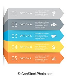 Vector arrows infographic, diagram chart, graph presentation. Business concept with 5 options, parts, steps, processes.