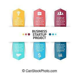 Vector arrows infographic, diagram chart, graph presentation. Business concept with 6 options, parts, steps, processes.
