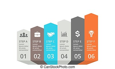 Vector arrows infographic, diagram chart, graph presentation. Business concept with options, parts, steps, processes.