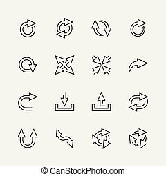Vector arrows mini icons set, outline style