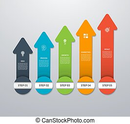 Vector arrows pointing up for infographic graph, diagram, chart. Business growth concept with 5 vertical arrows, steps, parts, options.