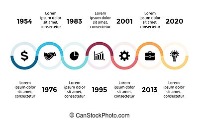 Vector arrows semicircles timeline infographic, diagram...