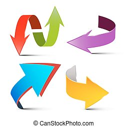 Vector Arrows Set. Colorful 3D Arrows. Logo Arrow Symbols Isolated on White Background.