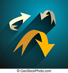 Vector Arrows Set on Blue Background