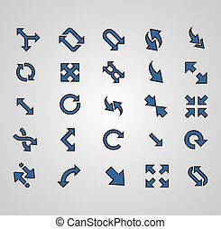 Vector Arrows signs isolated on grey background