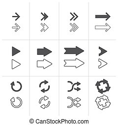 Vector Arrows signs set isolated on white background.