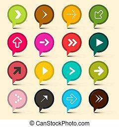 Vector Arrows Symbols. Colorful Circle Icons. Arrow.