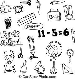 vector art back to school doodles