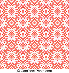 Vector geometric art deco pattern with lacing shapes in coral pink and white. Luxury texture for print, website background, decor in 1930 style, wrapping paper, spring summer fashion. textile, fabric