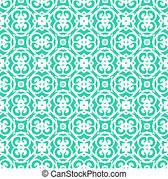 Vector geometric art deco pattern with lacing shapes in aqua blue and white. Luxury texture for print, website background, decor in 1930 style, wrapping paper, spring summer fashion. textile, fabric