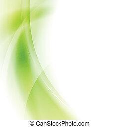 Abstract green waves vector art design. Gradient mesh