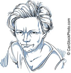 Vector art drawing, portrait of angry girl isolated on...