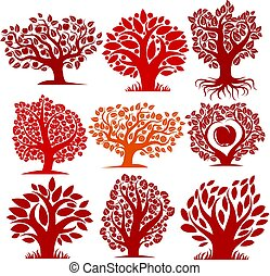 Vector art drawn autumn season trees with ripe apples and...