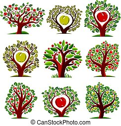 Vector art drawn trees with ripe apples. Harvest season idea...