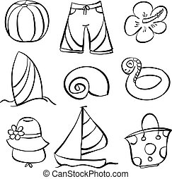 Vector art element summer doodles