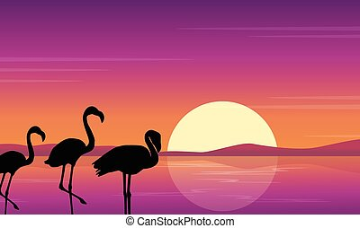 Vector art flamingo silhouette scene at sunset