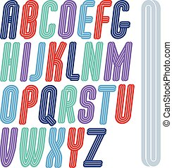 Vector art funky script from a to z created with parallel stripes, best for use in logotype design for carnival announcement