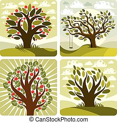 Vector art green fruity trees with swing on beautiful cloudy...