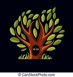 Vector art illustration of branchy tree with den. Two eyes of an animal looking from hollow, symbolic graphic image, fairy idea.