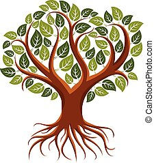 Vector art illustration of branchy tree with strong roots. ...