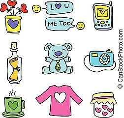 Vector art love doodle set