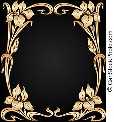 Vector art nouveau ornament. - Vector art nouveau gold iris ...