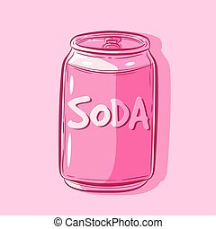 Vector art of a simple kawaii soda metal can. Isolated object of a pink fresh beverage inside an aluminium container.