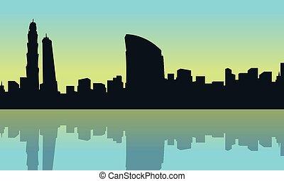 Vector art of dubai city silhouette scenery