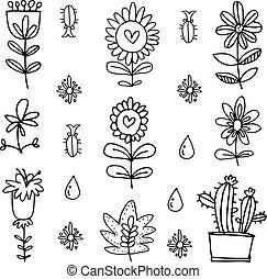 Vector art of flower set doodles