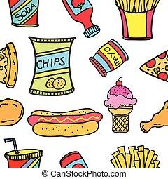 Vector art of food various doodle set